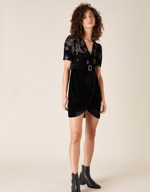 Patrice Paisley Embroidered Velvet Dress, Black (BLACK), large