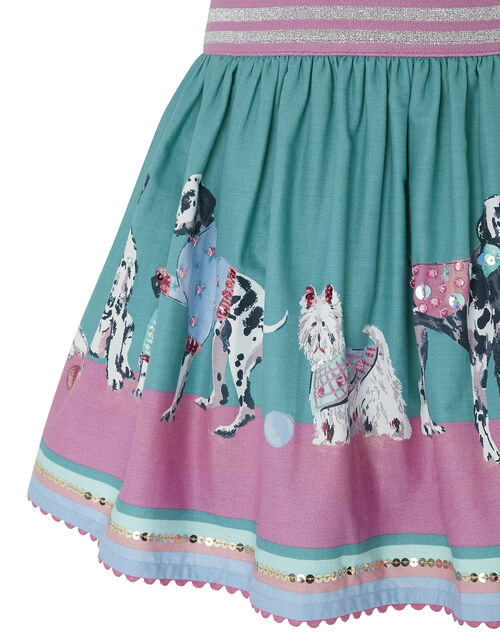Nessie Dog Border Print Skirt in Organic Cotton, Green (GREEN), large