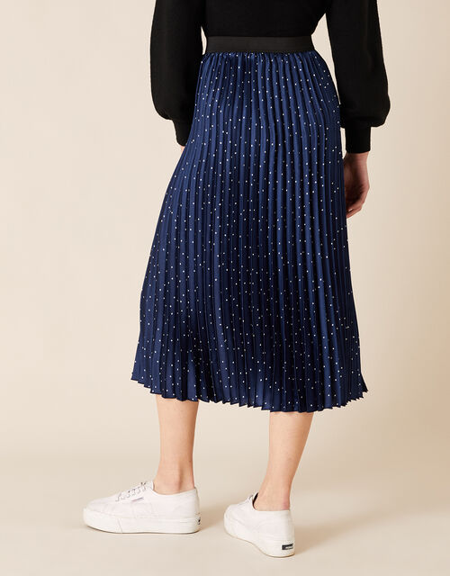 Polly Pin Spot Satin Midi Skirt, Blue (NAVY), large