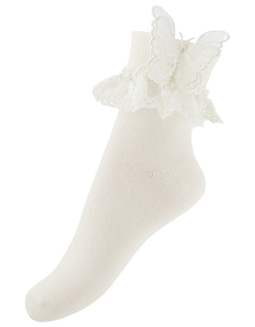 Butterfly Hair Clip and Socks Set, Ivory (IVORY), large
