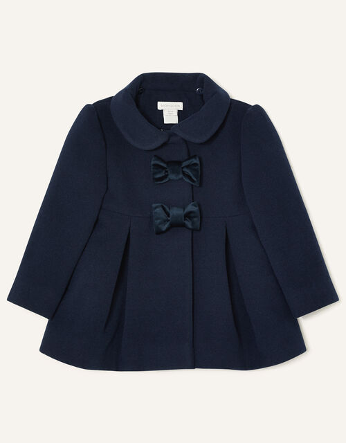 Baby Velvet Bow Swing Coat, Blue (NAVY), large