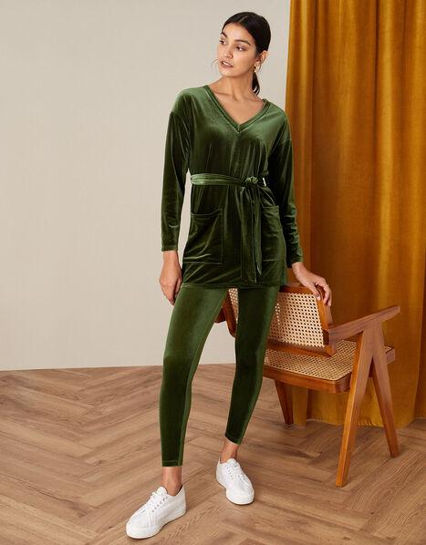 Velvet Leggings Green, Green (OLIVE), large