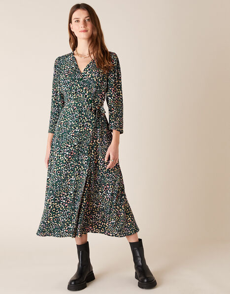 Floral Animal Midi Dress in Sustainable Viscose Green, Green (GREEN), large