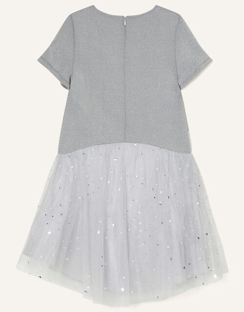 Unicorn and Star Print Dress, Grey (GREY), large