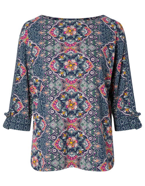Paisley Floral Top with Linen and Organic Cotton, Blue (BLUE), large