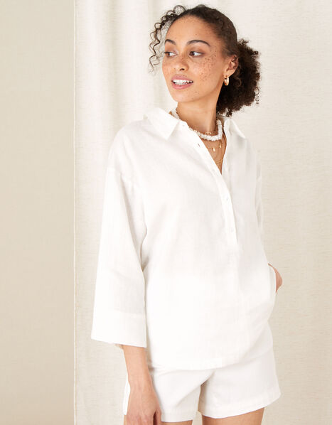 Plain Shirt in Pure Linen White, White (WHITE), large