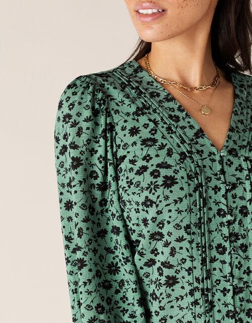 Floral V-Neck Long Sleeve Top, Green (GREEN), large