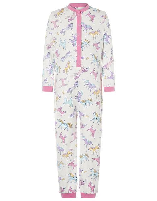 Unicorn Jersey Sleepsuit in Organic Cotton, Ivory (IVORY), large