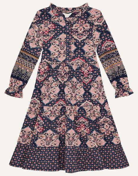 MINI ME Rowan Heritage Print Dress Blue, Blue (NAVY), large