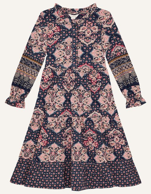 MINI ME Rowan Heritage Print Dress, Blue (NAVY), large