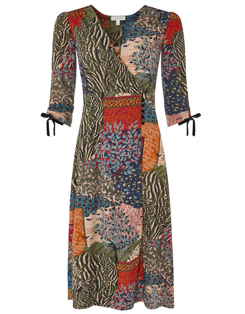Payton Printed Midi Dress with Organic Cotton, Green (KHAKI), large