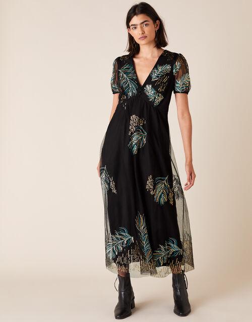 Gardenia Feather Embellished Tea Dress, Black (BLACK), large