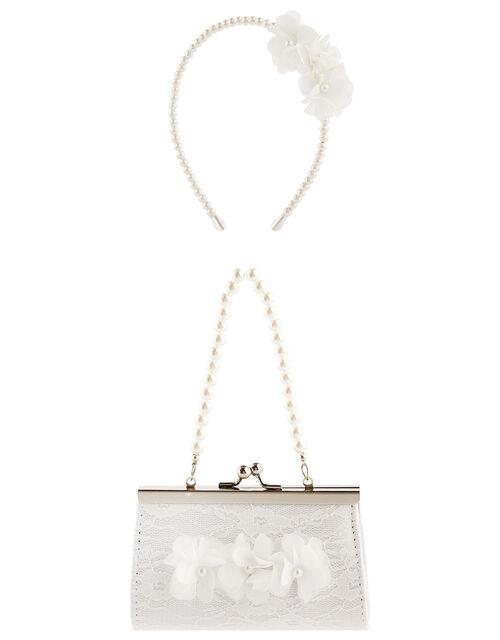 Pearl and Lace Mini Bag and Headband Set, , large