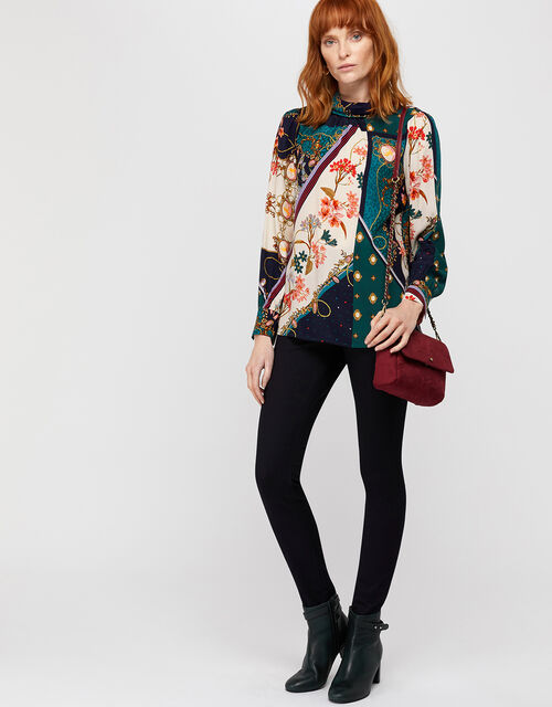 Pearly Queen Print High Neck Blouse, Teal, large