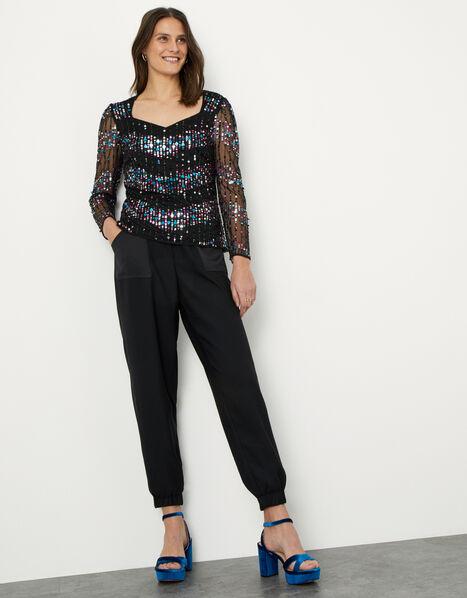 Karen Embellished Long Sleeve Blouse Black, Black (BLACK), large