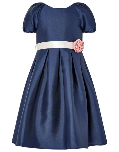 Corsage Belt Puff Sleeve Dress Blue, Blue (NAVY), large