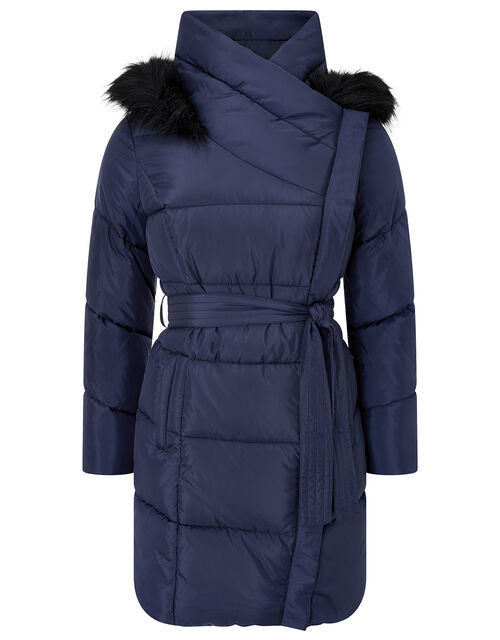 Patsy Long Padded Coat in Recycled Fabric, Blue (NAVY), large