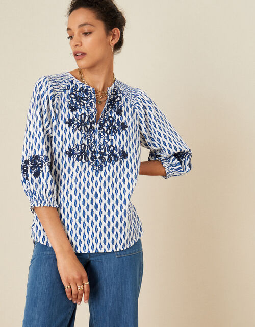 Ikat Embroidered Top in Organic Cotton, Ivory (IVORY), large
