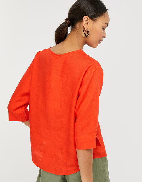 Scarlet Relaxed Blouse in Pure Linen, Red (RED), large