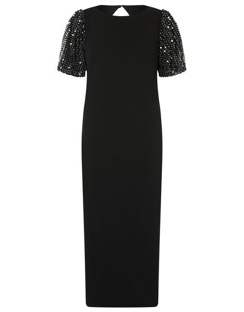 Brianna Sequin Sleeve Jersey Midi Dress, Black (BLACK), large