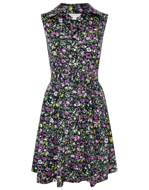 Katie Ditsy Floral Belted Shirt Dress, Blue (NAVY), large