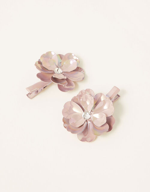Pearly Shine Flower Hair Clips, , large