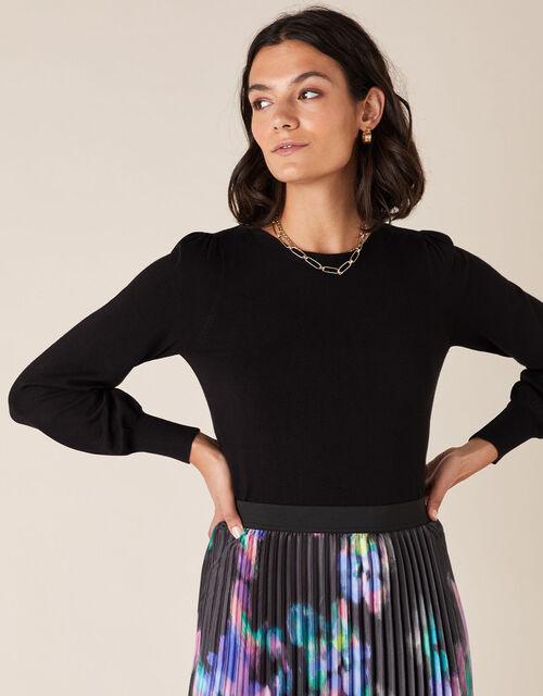 Button Back Knit Jumper, Black (BLACK), large