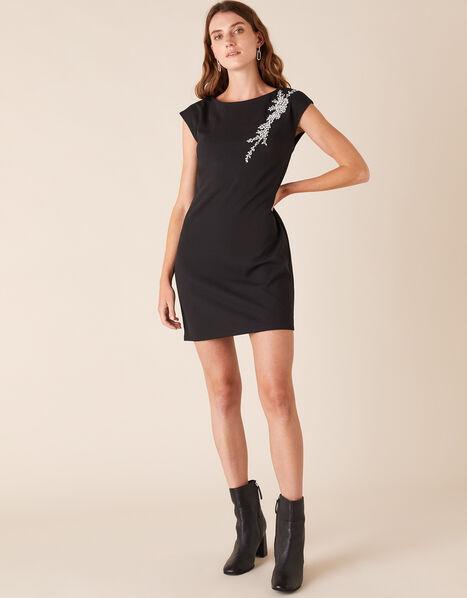 Betty Gem Brooch Stretch Short Dress Black, Black (BLACK), large
