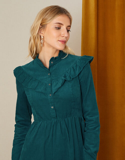 Sordan Plain Frill Cord Dress, Teal (TEAL), large