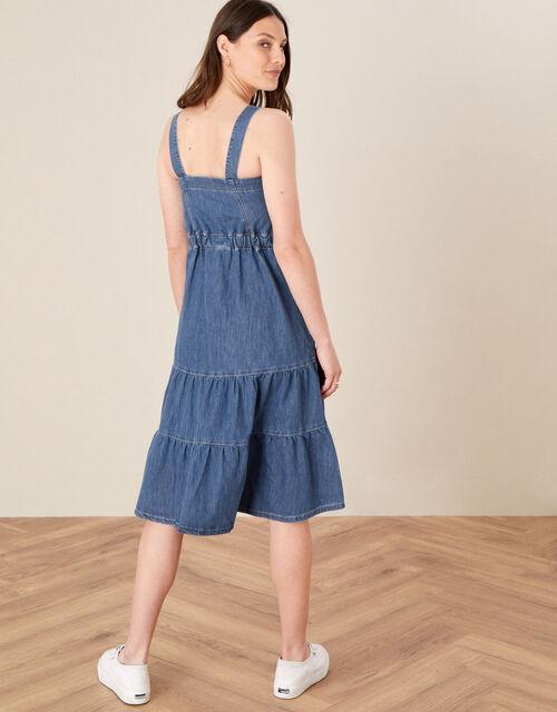 Tiered Denim Sundress, Blue (DENIM BLUE), large