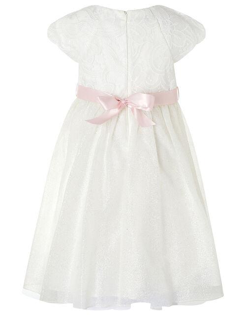 Melody Sparkle Dress with 3D Flower Belt, Ivory (IVORY), large