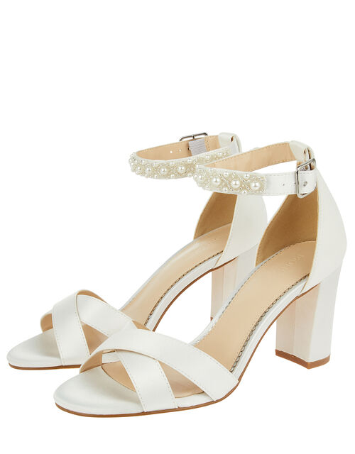 Embellished Strap Satin Bridal Sandals, Ivory (IVORY), large