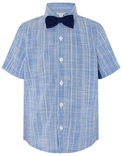 Slub Shirt with Bow Tie  Blue, Blue (BLUE), large