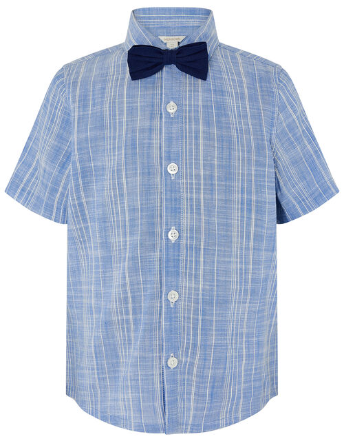 Slub Shirt with Bow Tie , Blue (BLUE), large