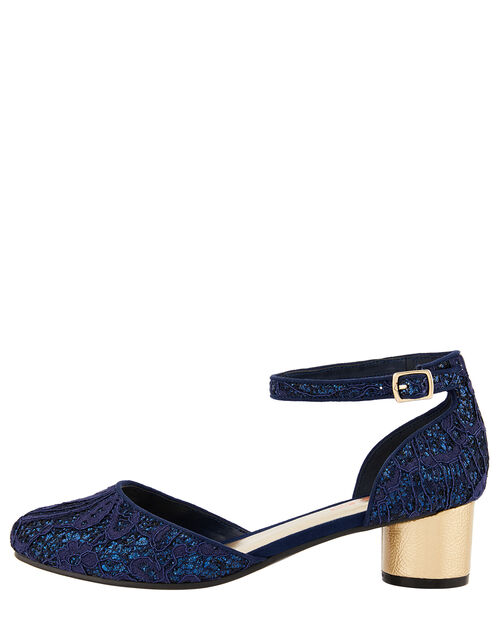 Glitter Lace Two-Part Heeled Shoes, Blue (NAVY), large