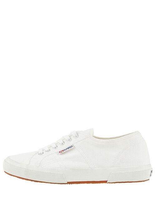 Superga Canvas Lace-Up Trainers, White (WHITE), large