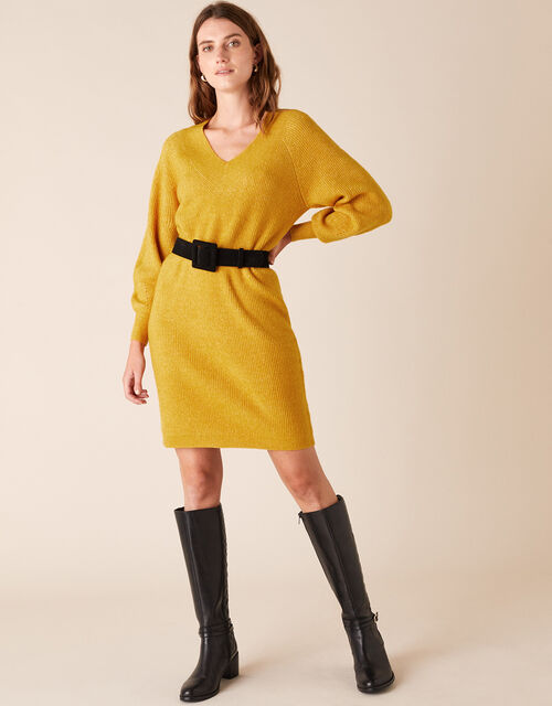 Ribbed Knit Dress, Yellow (OCHRE), large