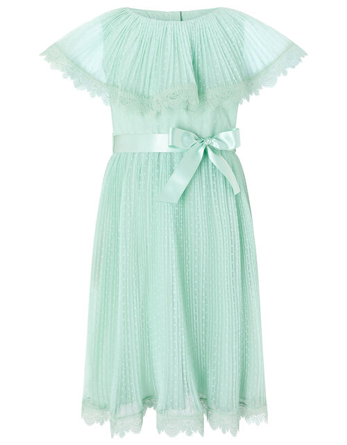 Dotty Pleated Cape Dress with Lace Trims, Green (MINT), large