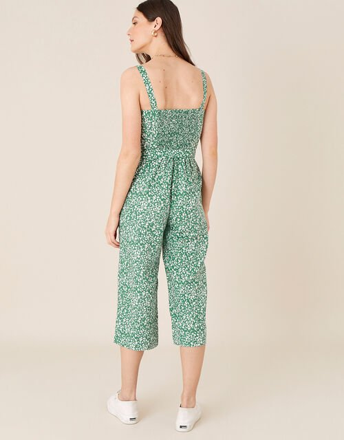 Printed Jumpsuit in Linen Blend, Green (GREEN), large