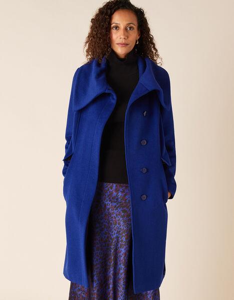 Keryn Wrap Collar Belted Coat Blue, Blue (COBALT), large