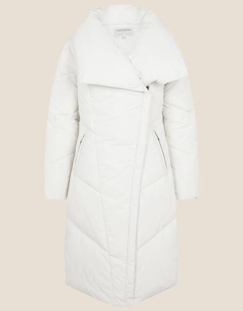 Dhalia Long Padded Coat, White (WHITE), large