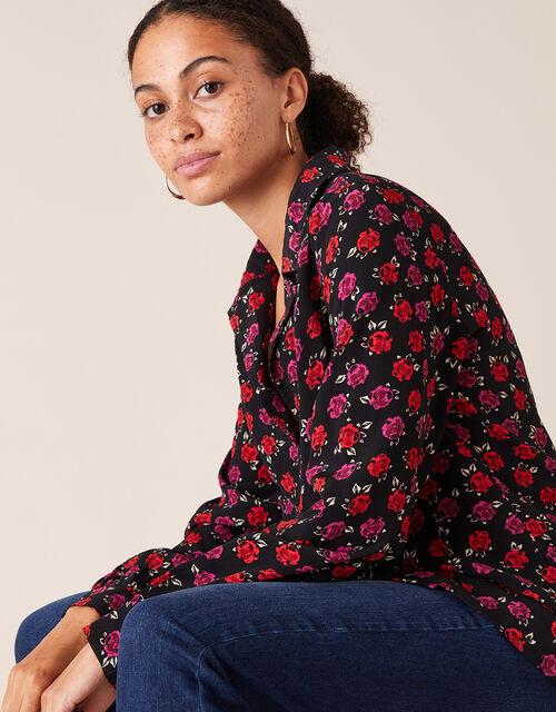 Rose Print Blouse in LENZING™ ECOVERO™, Black (BLACK), large