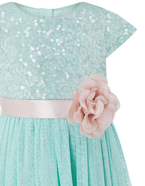 Baby Sara Sequin Dress with Corsage Belt, Teal (DUCK EGG), large