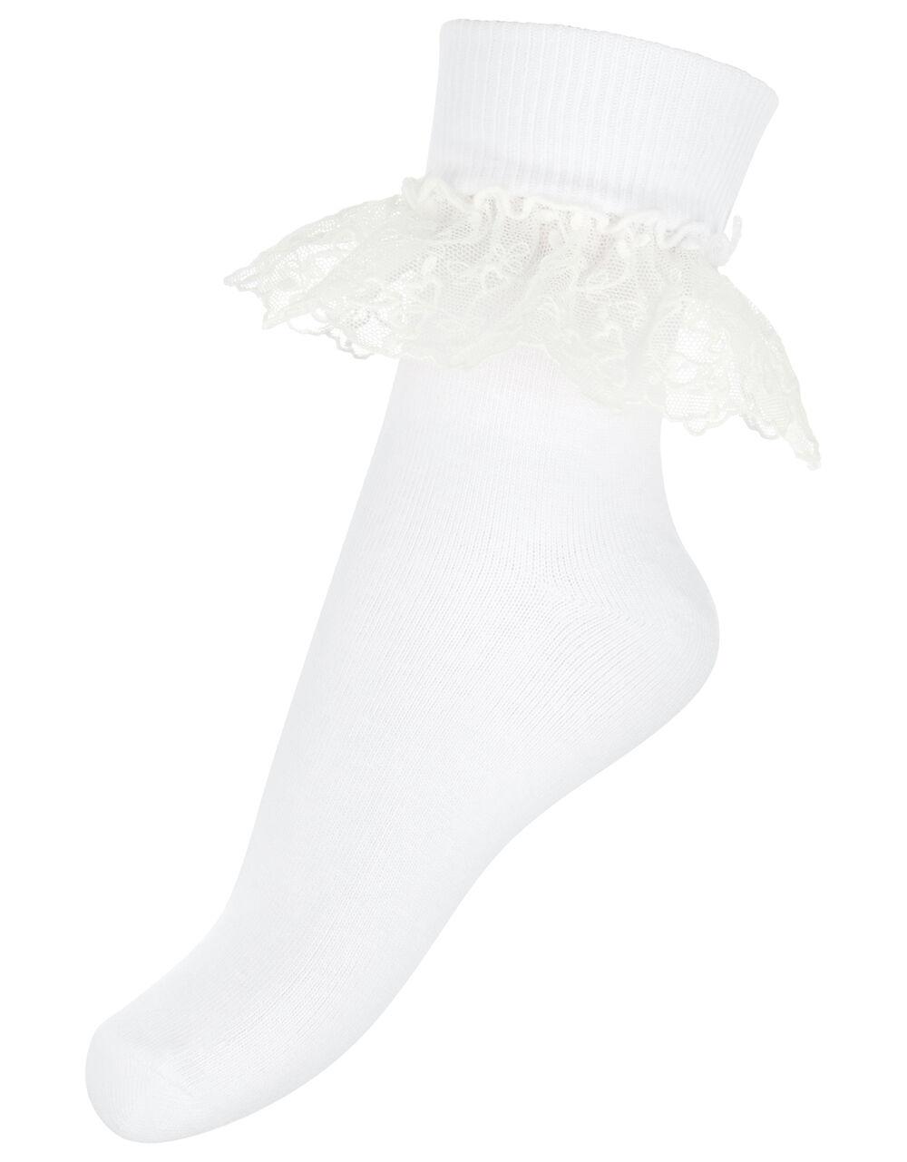 Melissa Heart Lace Socks, White (WHITE), large