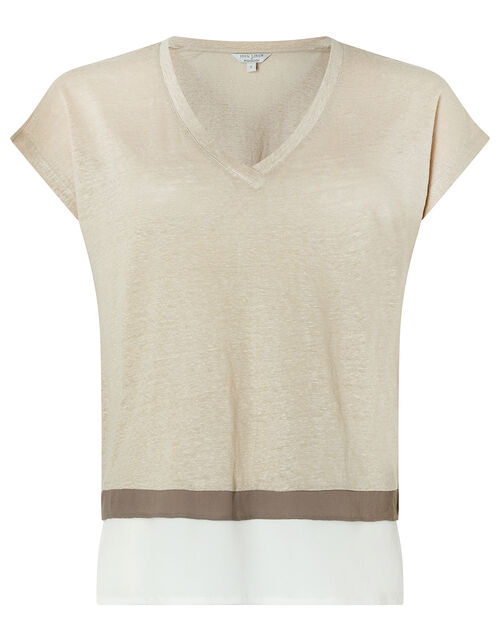 Wallace T-Shirt in Pure Linen, Natural (STONE), large