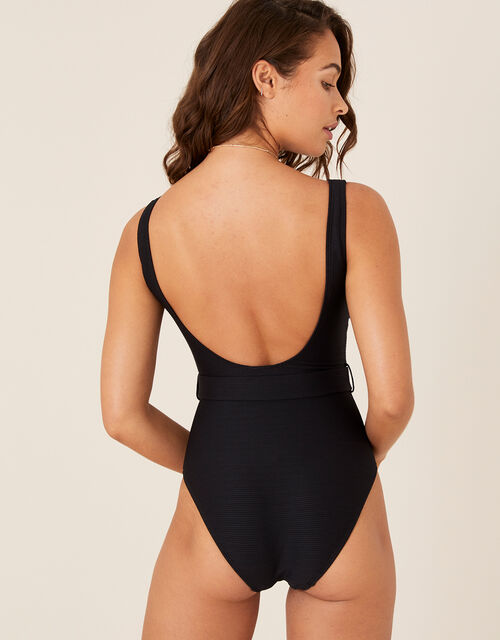 Belted Rib Swimsuit, Black (BLACK), large