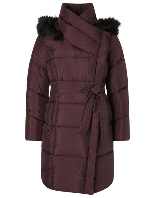 Patsy Long Padded Coat in Recycled Fabric, Brown (CHOCOLATE), large