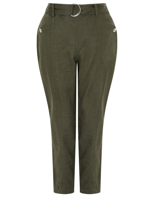 Frankie Joggers in Pure Linen, Green (KHAKI), large