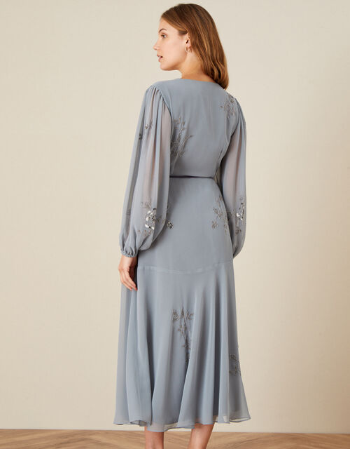 Gracie Embroidered Wrap Dress in Recycled Fabric, Grey (GREY), large