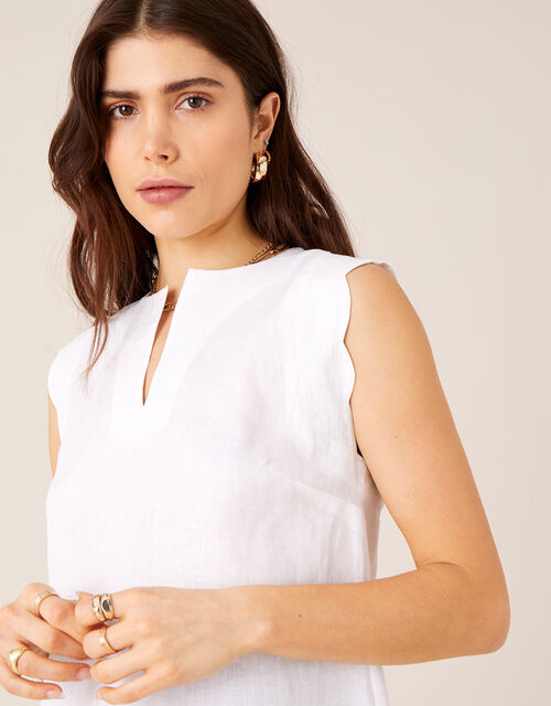 Plain Tank Top in Pure Linen, White (WHITE), large